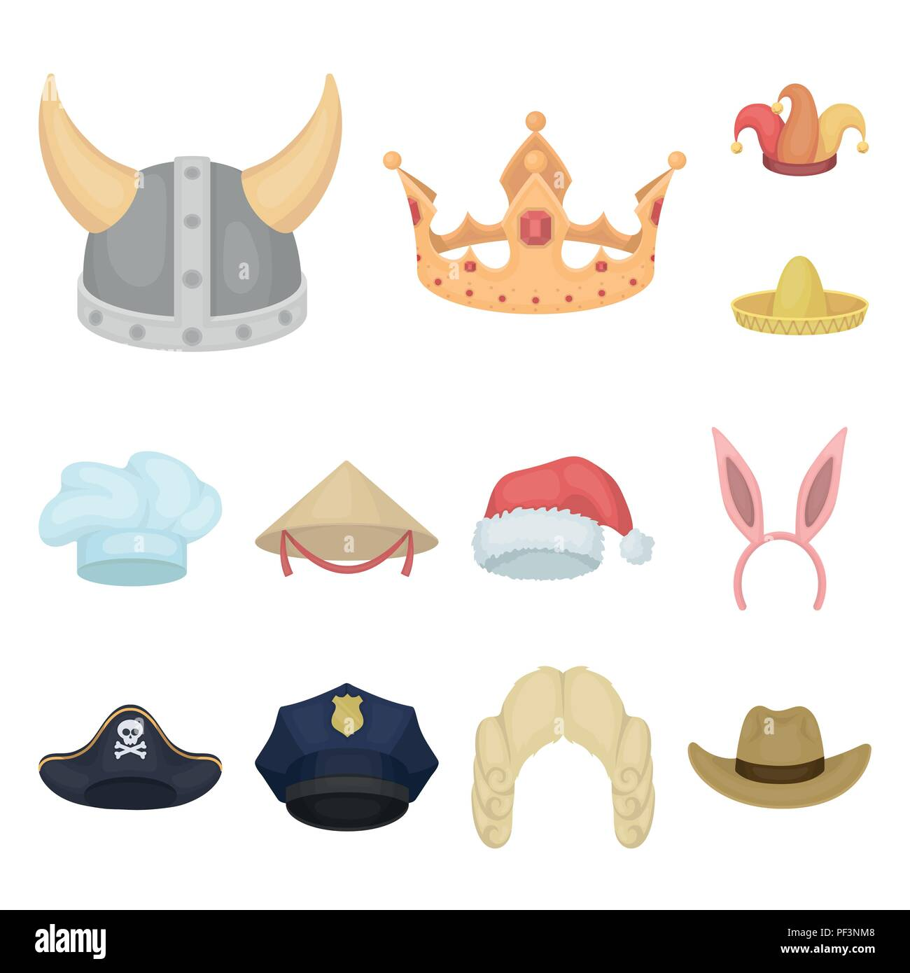 Different kinds of hats cartoon icons in set collection for design.Headdress  vector symbol stock illustration. 6aaa7a59b7f1