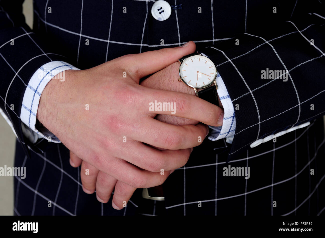 hands, man, time, waiting, watch, classic, hands, lifestyle, cuffs, curiosity, body language, - Stock Image