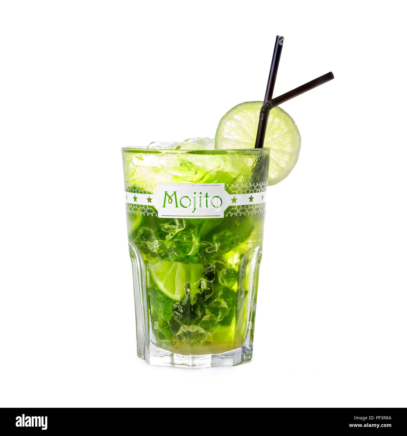 A Mojito cocktail photographed on a white background. It is a very refreshing drink for hot summer days. - Stock Image