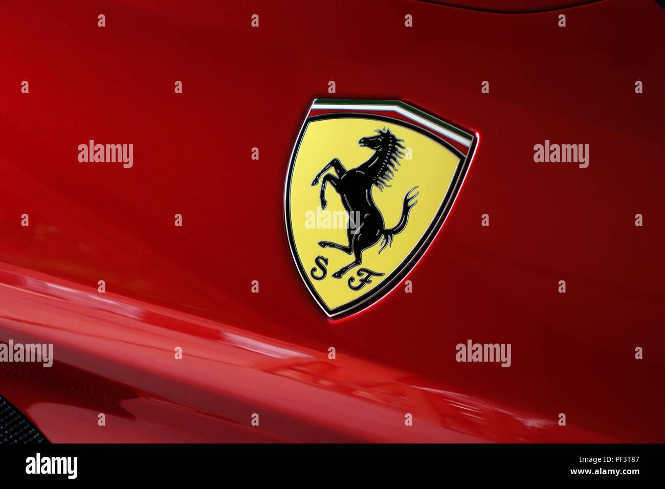 The Ferrari Shield Badge with prancing horse logo on Ferrari California T 2015 car Stock Photo