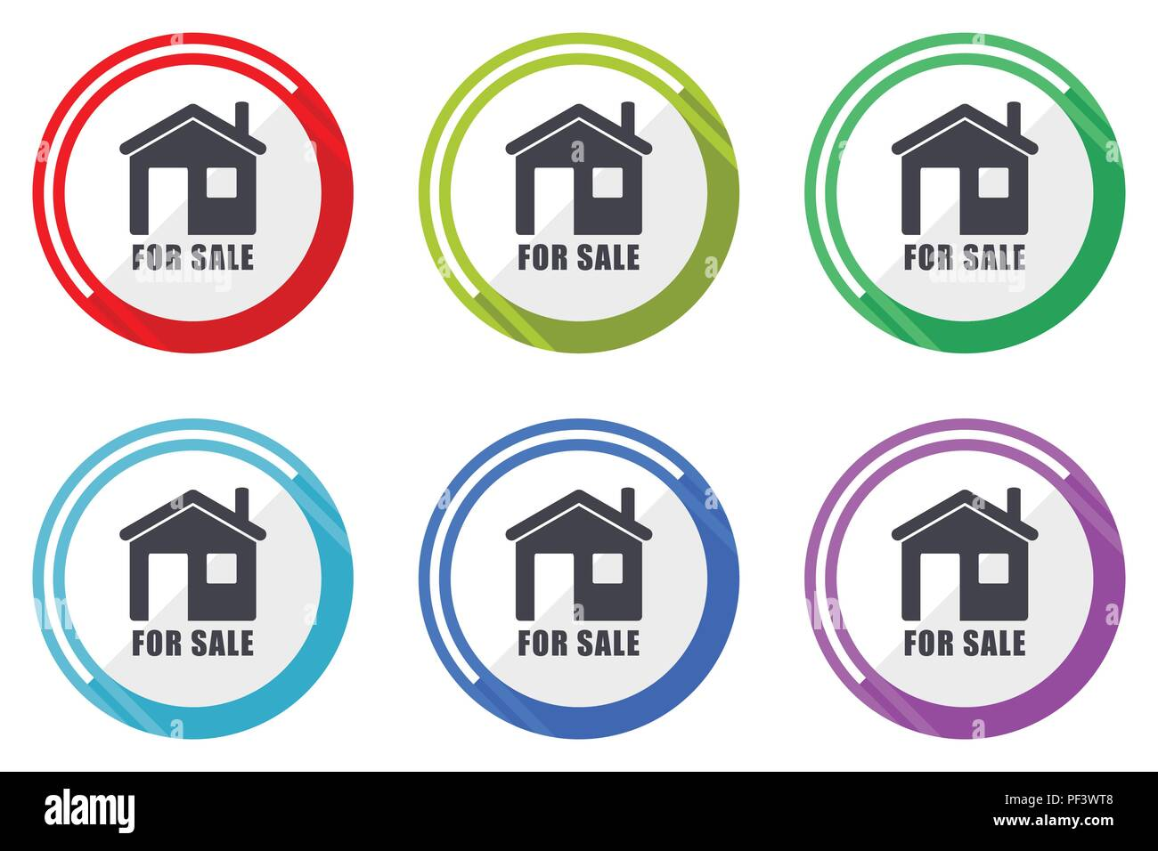 For sale editable flat vector icons collection, round circle web buttons, set of colorful computer and smartphone application signs easy to edit - Stock Image