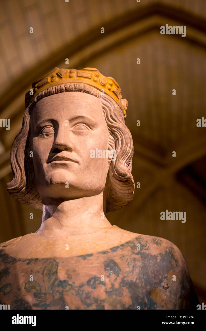 Bust of King Louis IX (1214-1270 AD) - AKA St Louis, a reformer king, on display inside the Conciergerie, Paris, France Stock Photo