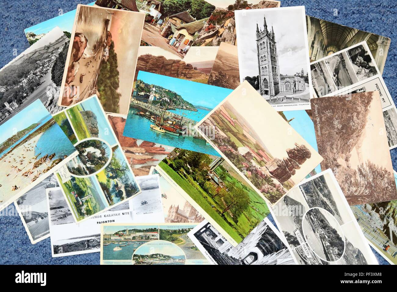 Black & white and colour postcards - social history - Stock Image