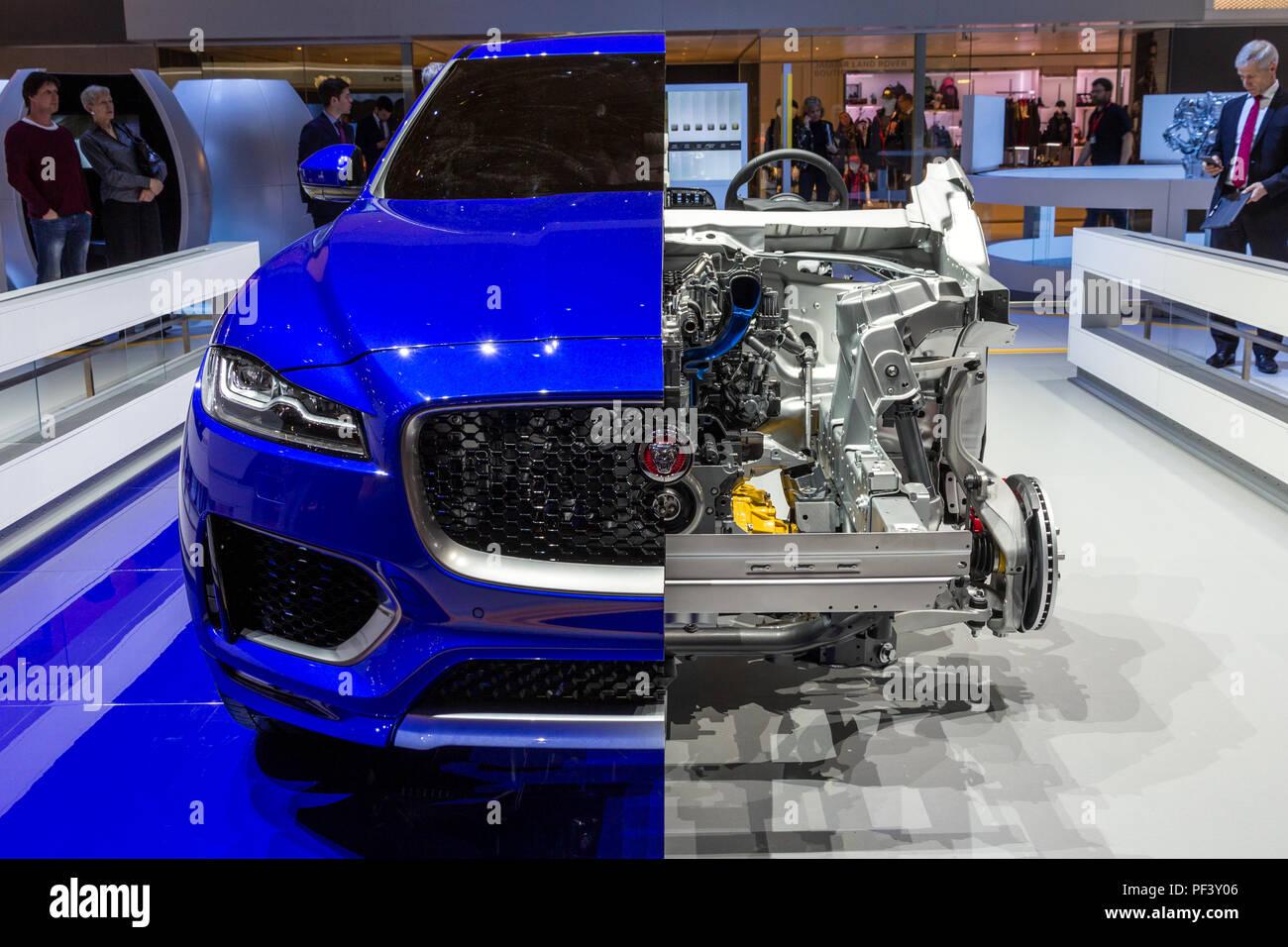 Geneva Switzerland March 2 2016 Jaguar Car Cut In Half With