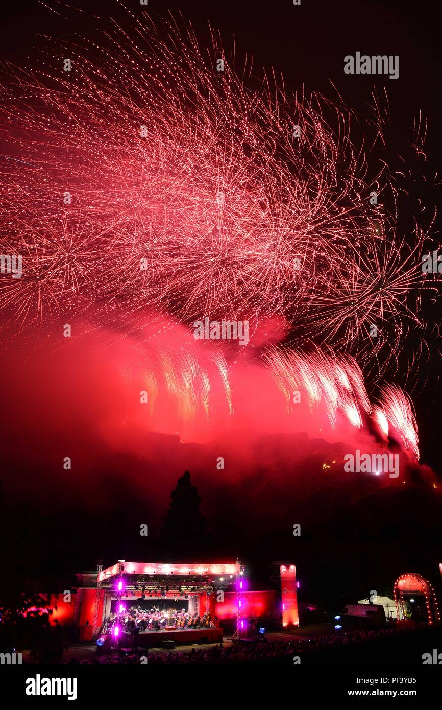 Virgin Money Concert marks the end of the Edinburgh Festival Fringe  fireworks at the Ross bandstand Stock Photo