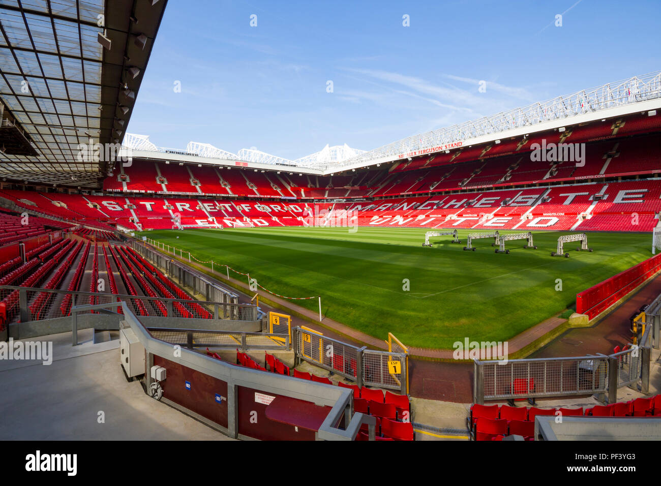 Inside Old Trafford. Home of Manchester United Football Club - Stock Image