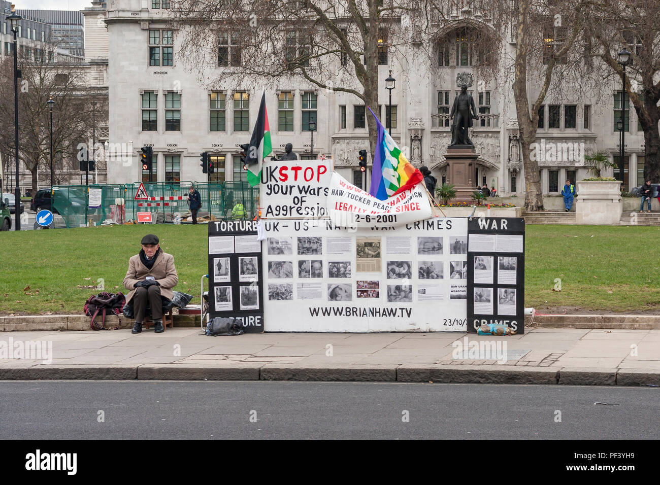 The remains of the Brian Haw peace protest in Parliament Square, London. - Stock Image
