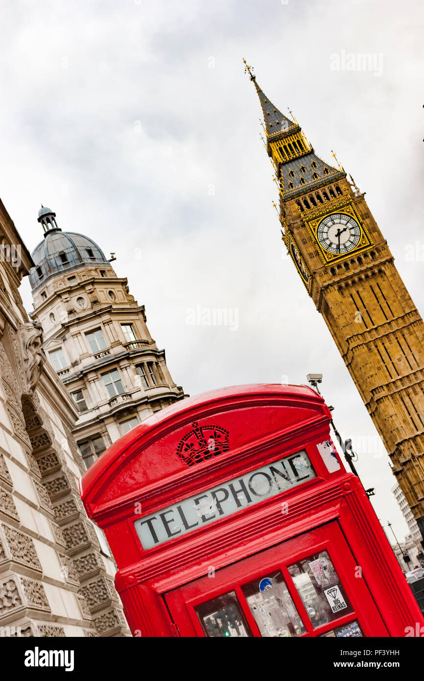 Red London telephone box with Big Ben behins - Stock Image