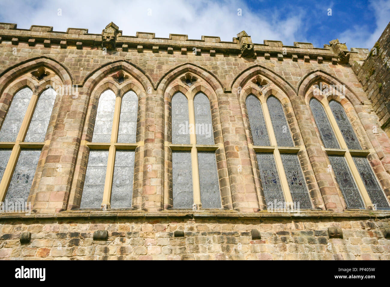 Architectural detail at the ruins of the priory at Bolton Abbey, Wharfedale, North Yorkshire. - Stock Image