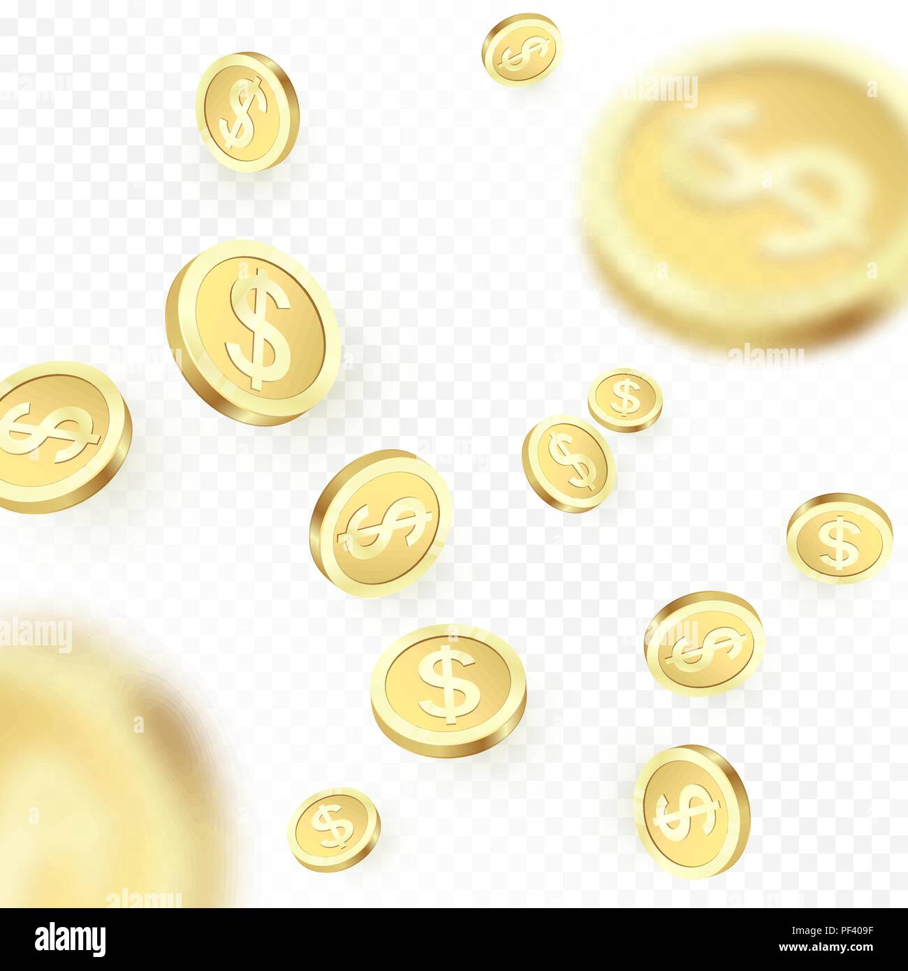 87907115ef93 Heap falling golden coins isolated on transparent background. Shiny metal  dollar rain. Casino jackpot