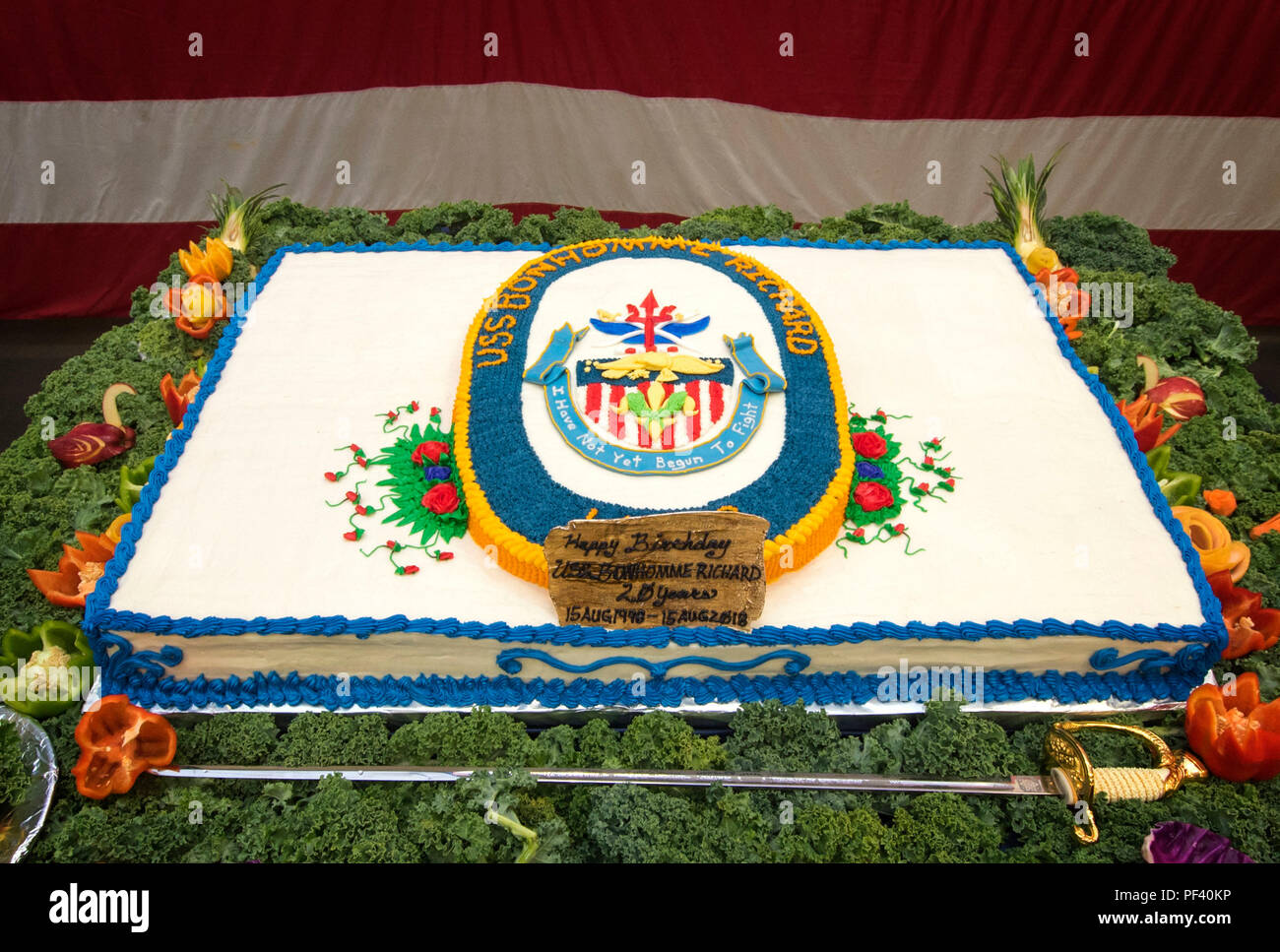 180816 N WF272 1002 SAN DIEGO Aug 16 2018 A Ceremonial Birthday Cake Is Set Up In The Hangar Bay Of Amphibious Assault Ship USS Bonhomme Richard