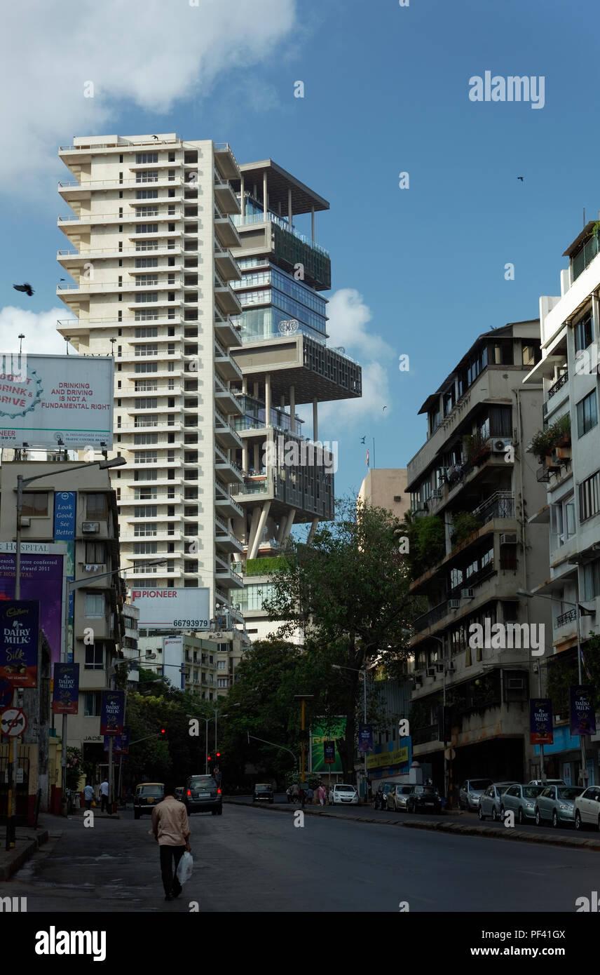 Antilla house of mukesh ambani ; Bombay ; Mumbai ; Maharashtra ; India - Stock Image