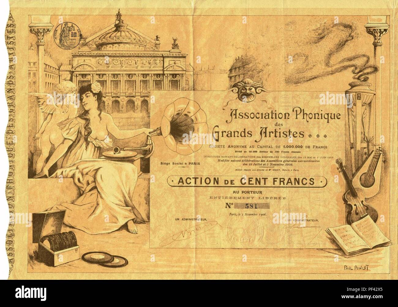 Association Phonique des Grands Artistes 1906. - Stock Image