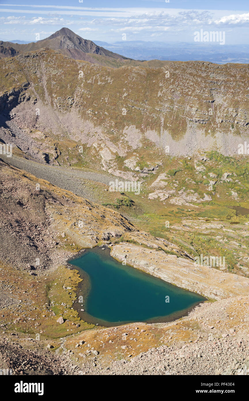 Bench Lake formed by a natural rock dam in the Sangre De Cristo Mountains in Colorado - Stock Image