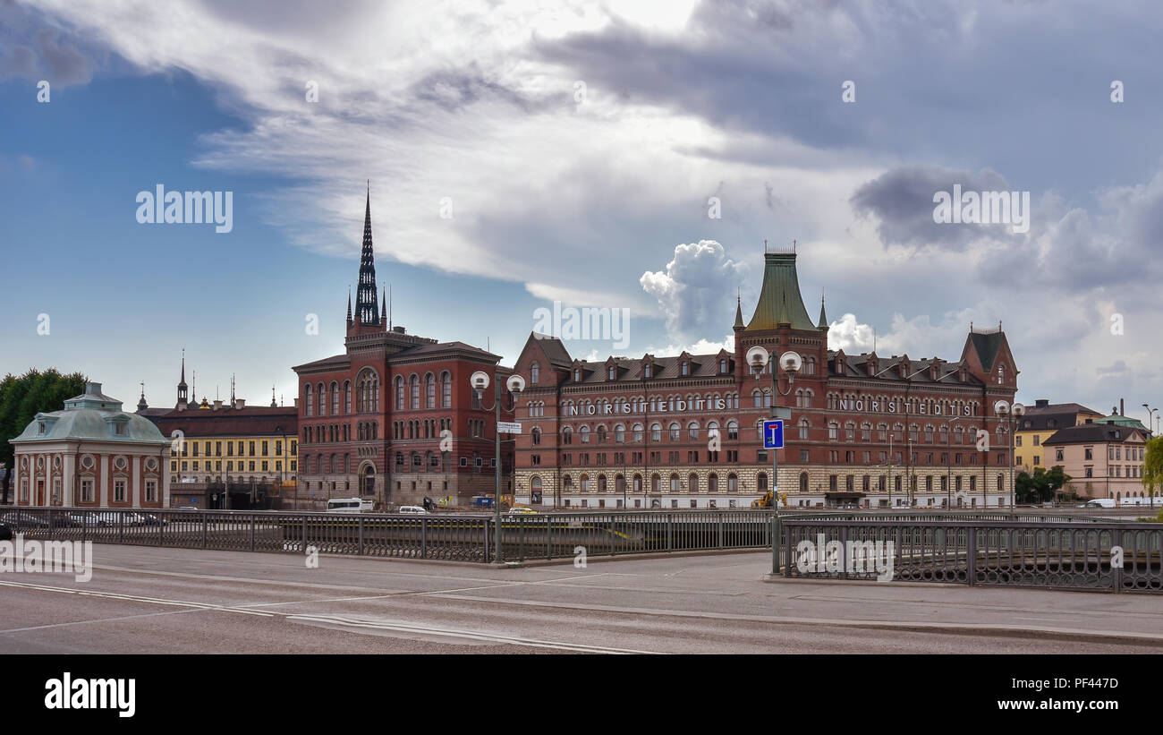 Stockholm, Sweden - Aug. 2, 2018: Central Stockholm city skyline, showing the well known silhouette of the Norstedt Building. - Stock Image