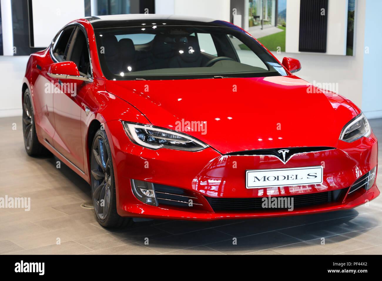 MILAN, ITALY - JULY 30, 2018: Model S car in Tesla showroom, Milan, Italy - Stock Image