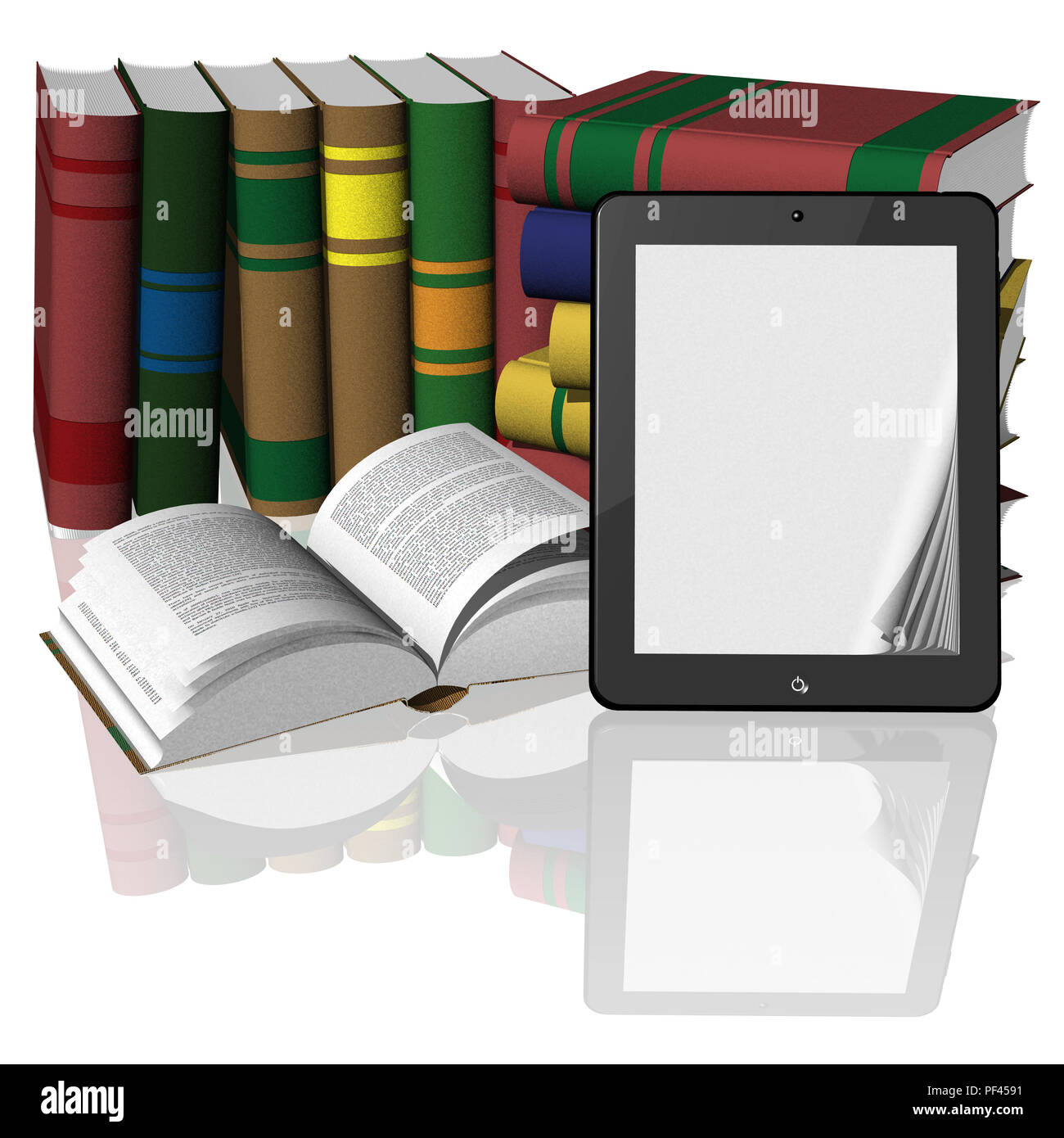 3D illustration. Stack of books with a tablet, e-book, with blank pages for possible inclusion text. Stock Photo