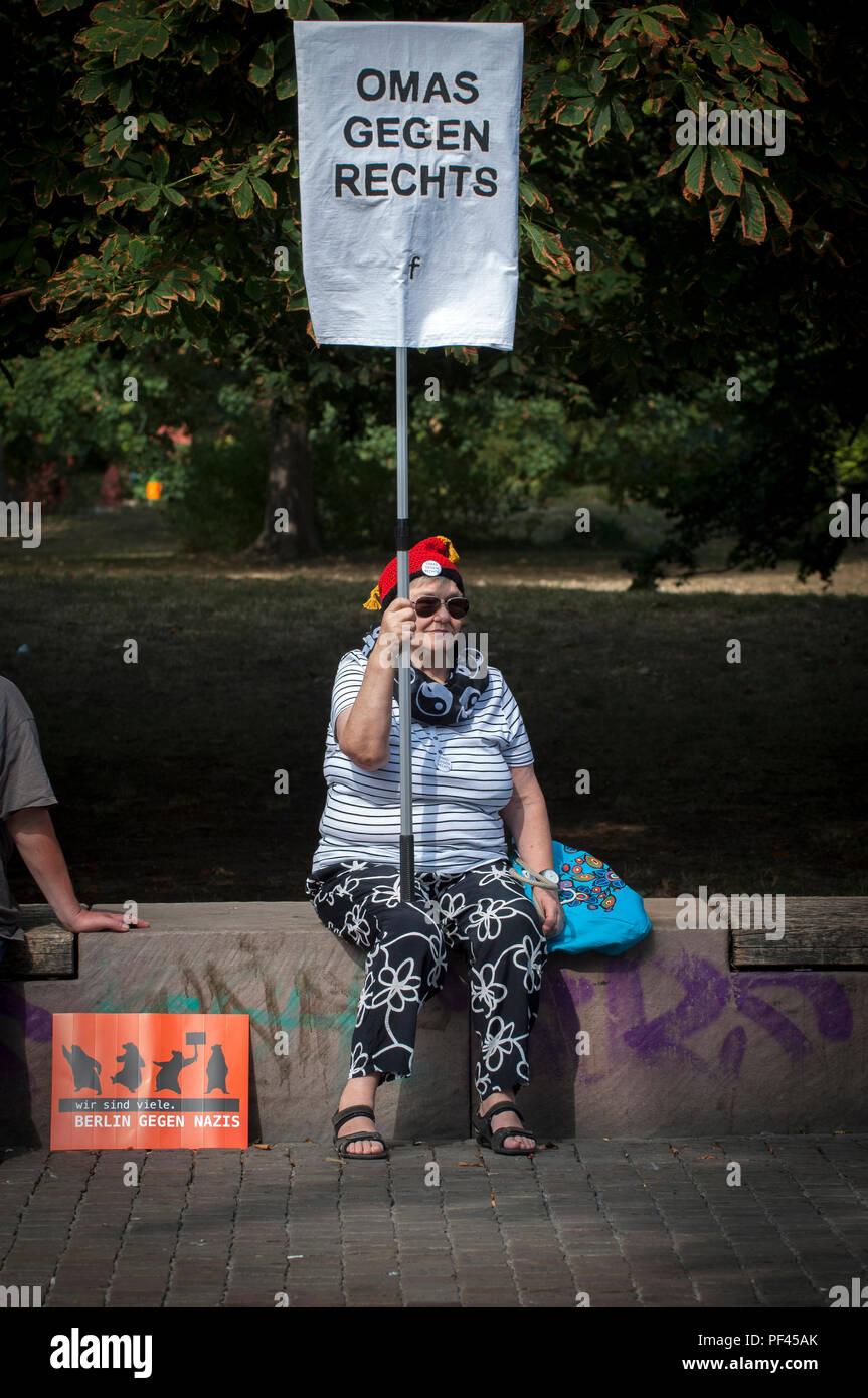 Omas Gegen Rechts- 'Grannies against the Right' protest against 'The Hess March' in Spandau Berlin. - Stock Image