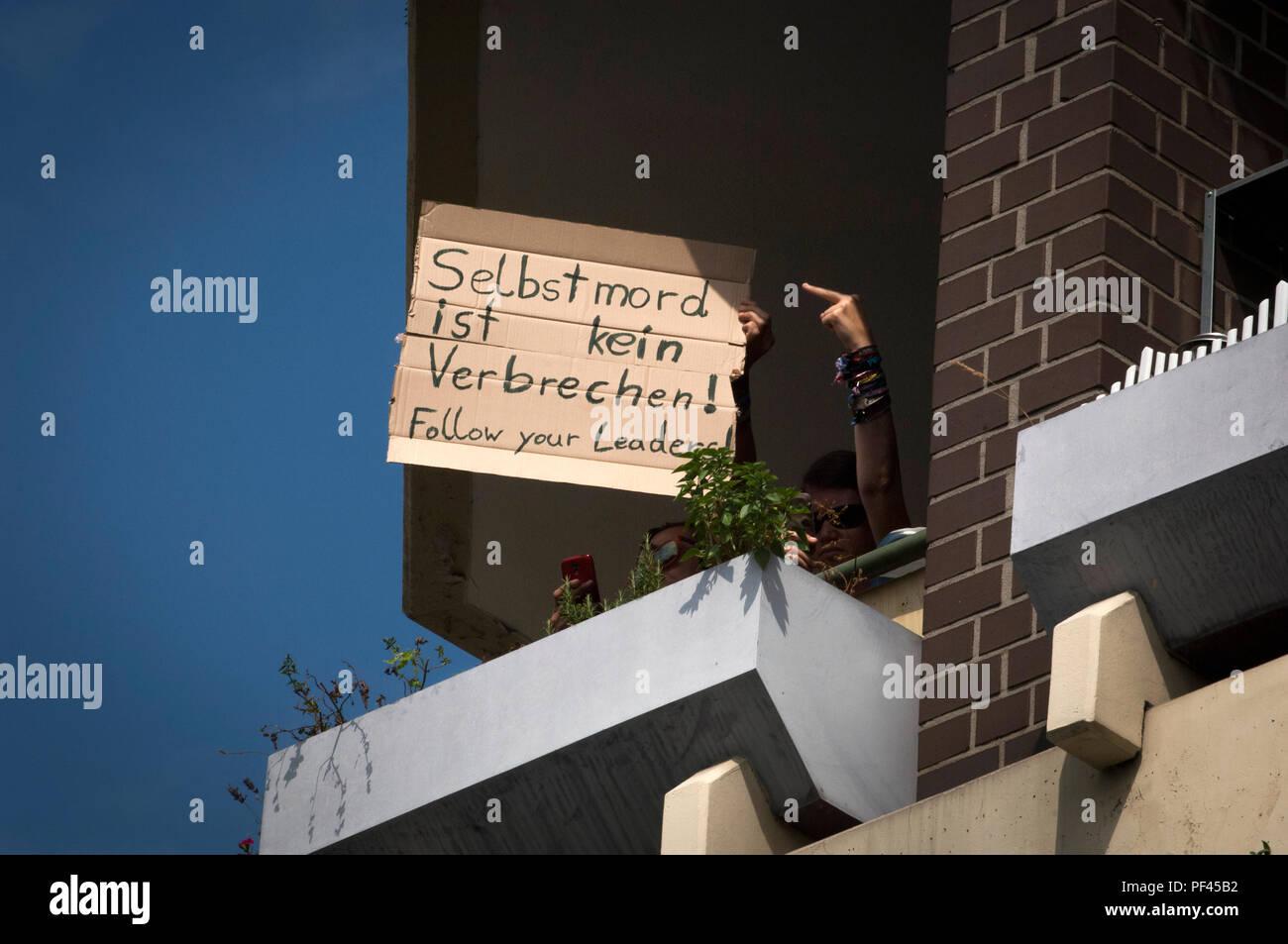 A traditional welcome for the far right from the residents of Spandau. The Far Right held a demonstration on the 31st anniversary of Rudolf Hess death. - Stock Image