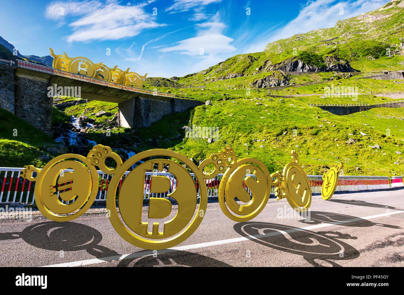 bullish or bearish marketing trend. bears down the road make fun of bulls up on the bridge. currency market trading concept Stock Photo