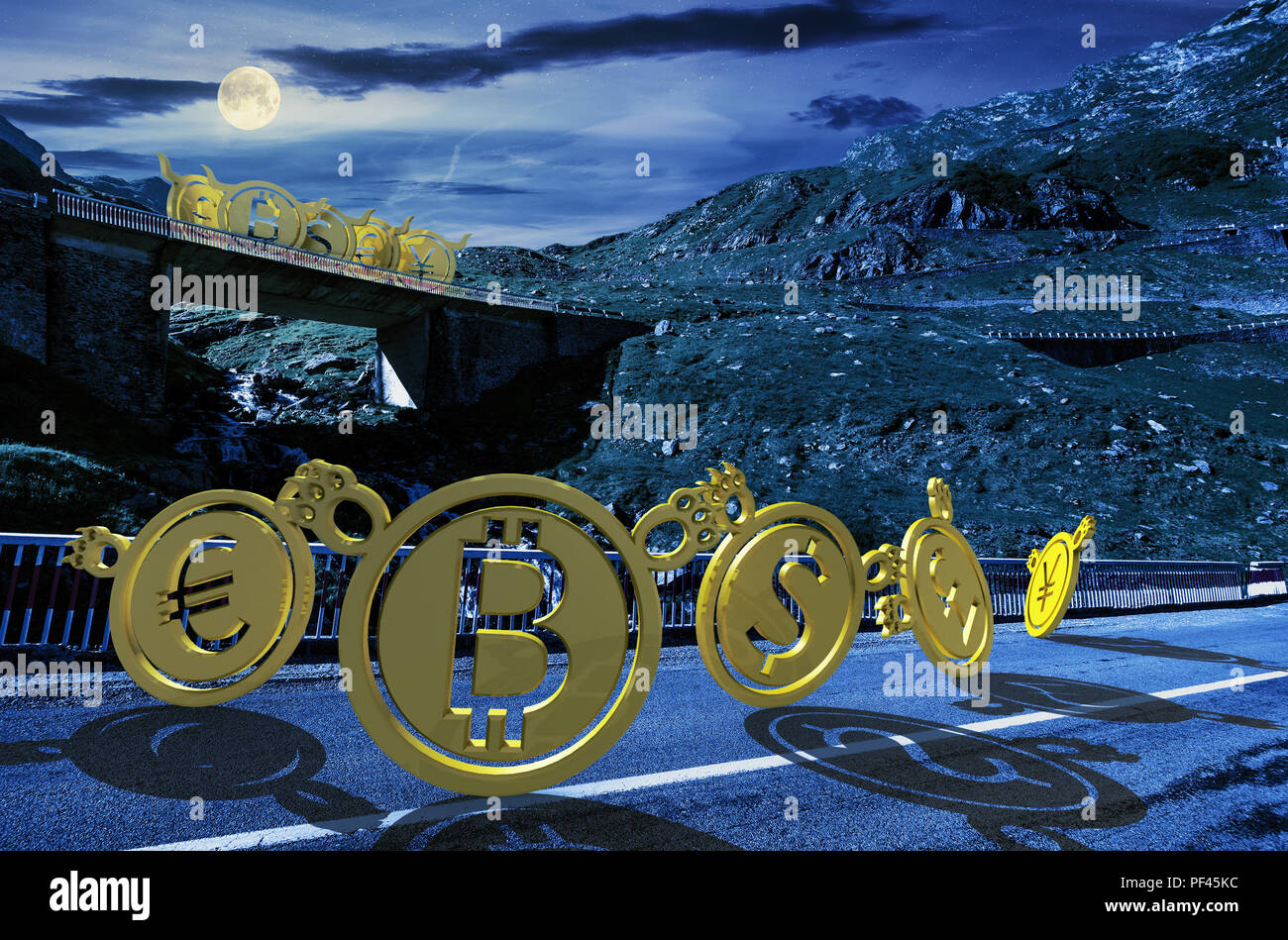 bullish or bearish marketing trend. bears down the road make fun of bulls up on the bridge. currency market trading at night in full moon light - Stock Image
