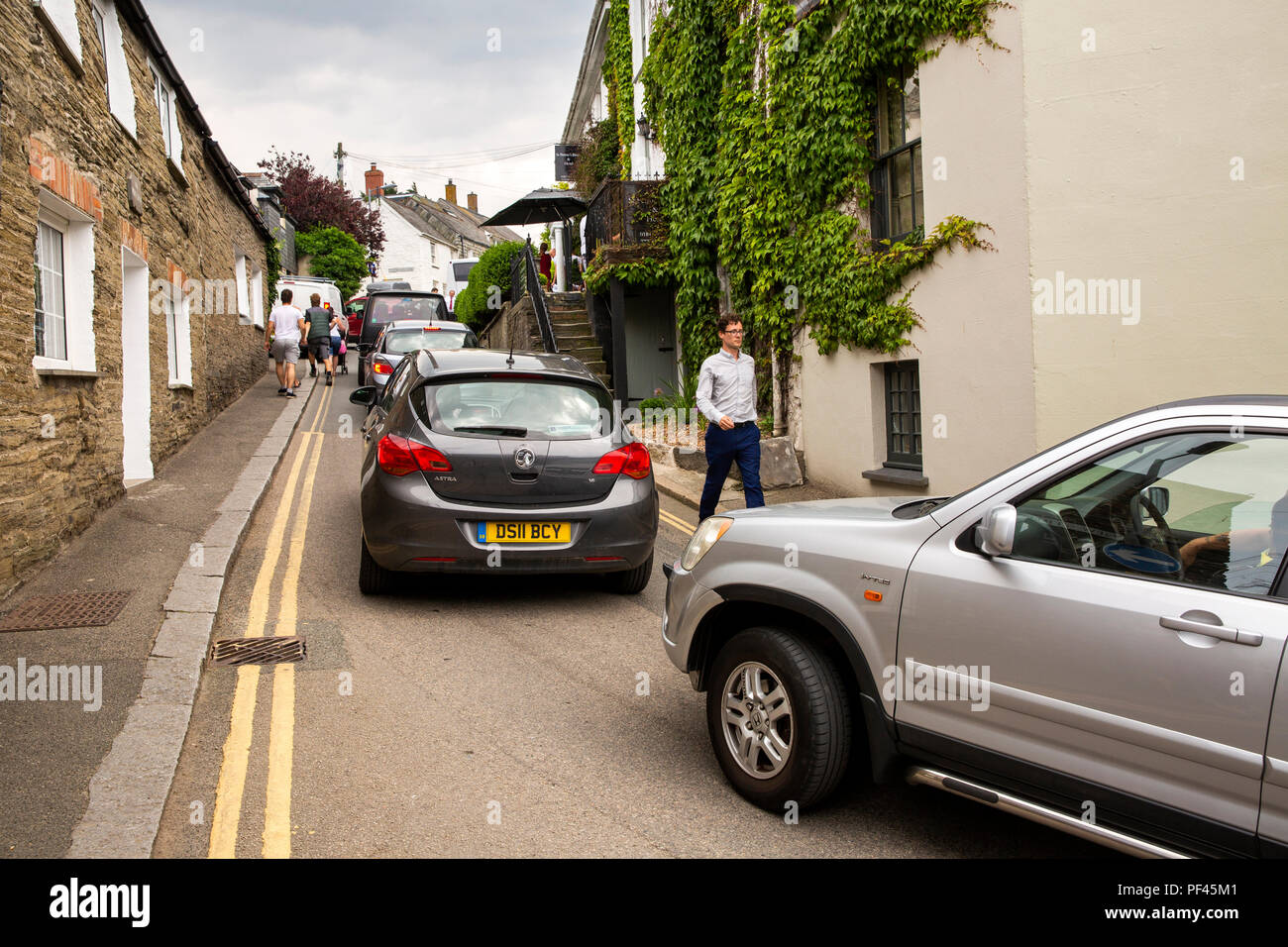 UK, Cornwall, Padstow, New Street, traffic gridlock caused by parked car - Stock Image