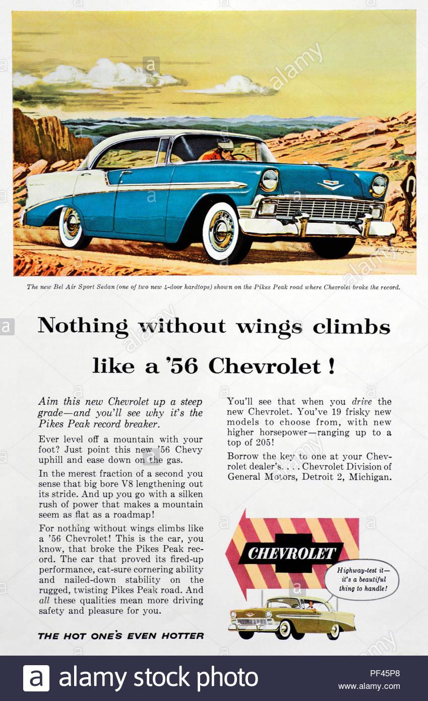 Vintage advertising for the Chevrolet Bel Air Sport Sedan Car 1956 - Stock Image