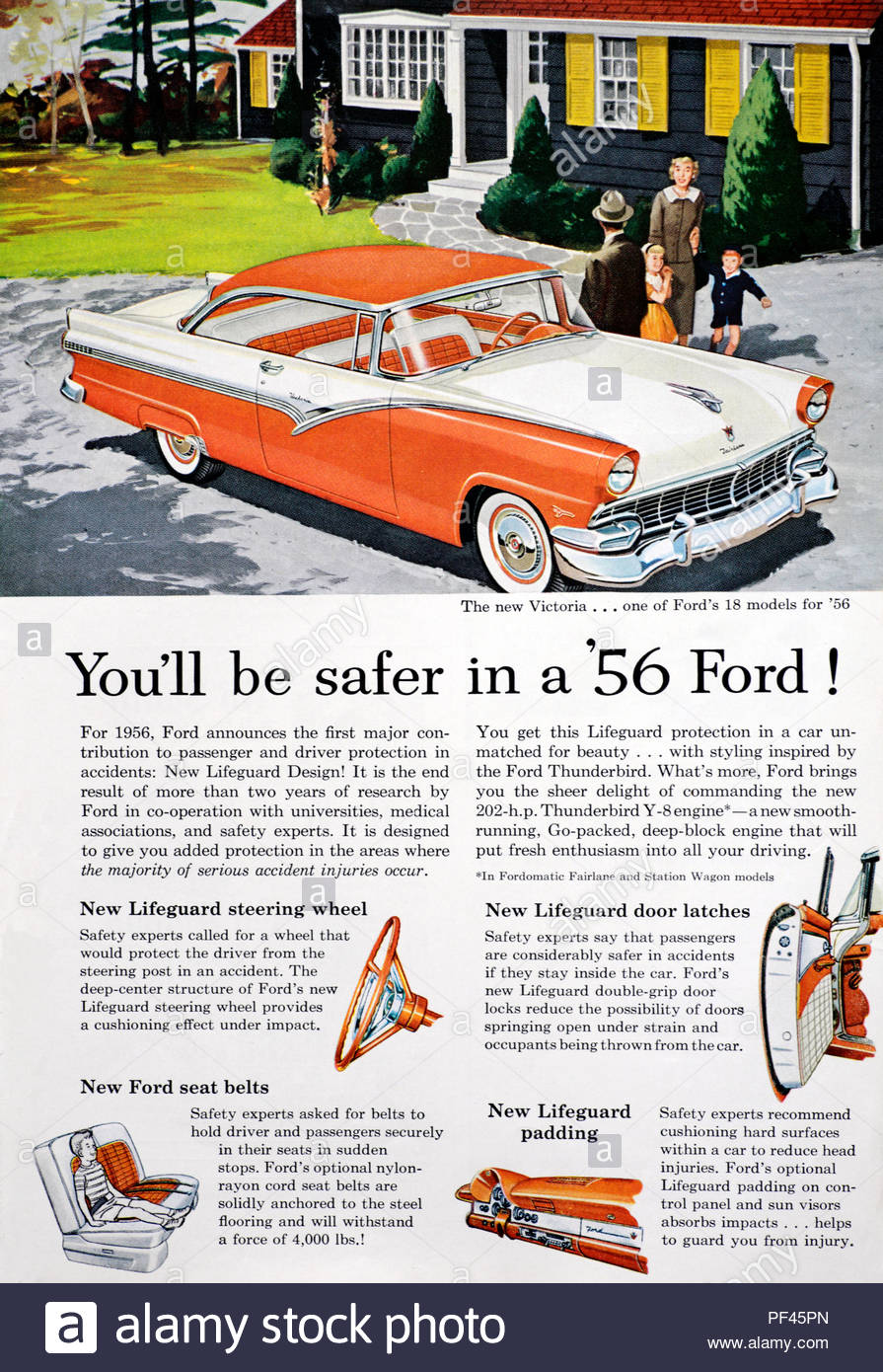 Vintage advertising for the Ford Fairlane Victoria 1956 - Stock Image