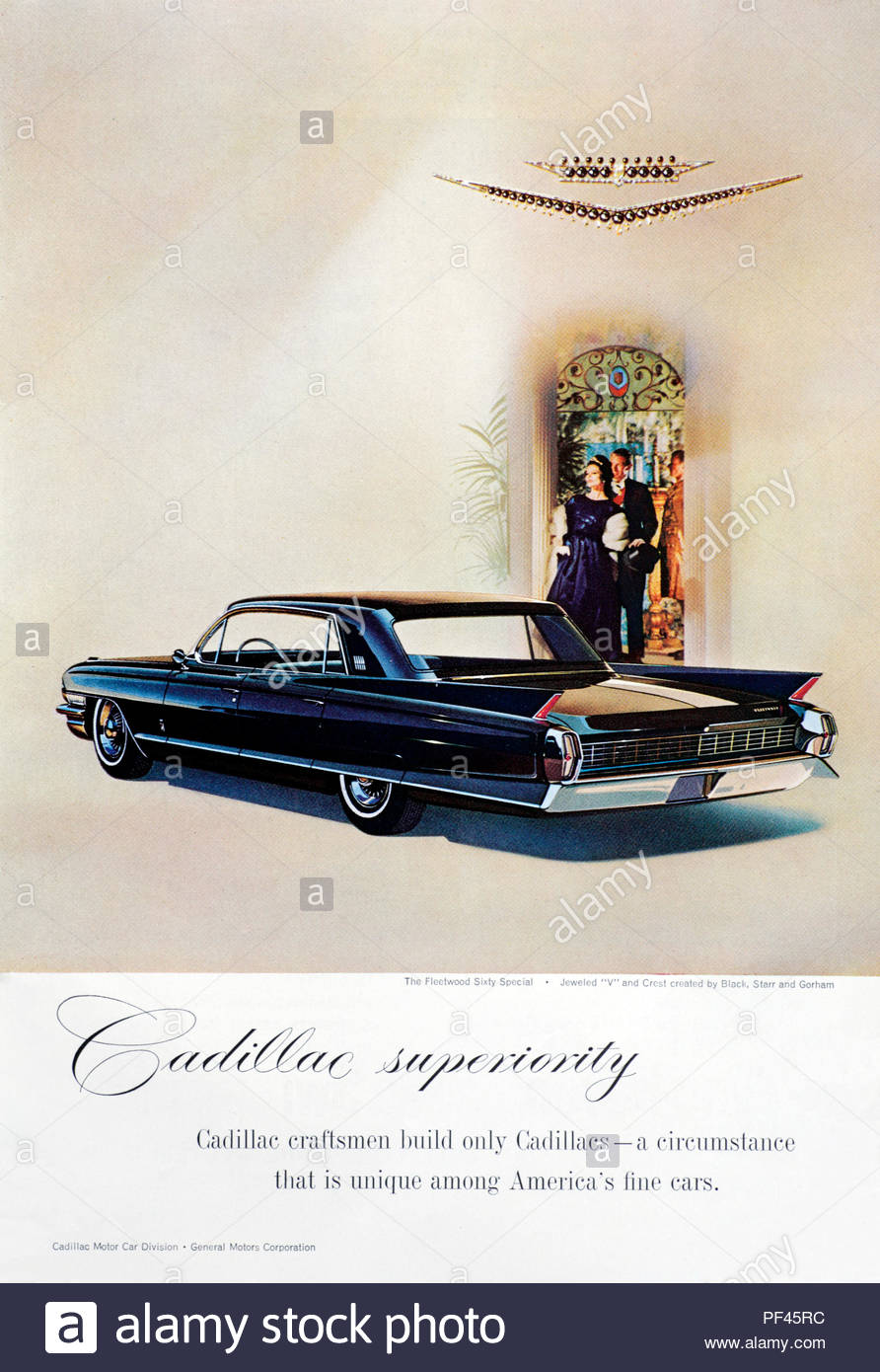 Vintage advertising for the Cadillac Fleetwood Sixty Special Car 1962 - Stock Image