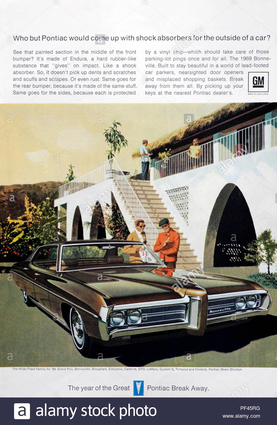Vintage advertising for the Pontiac Bonneville Car 1969 - Stock Image