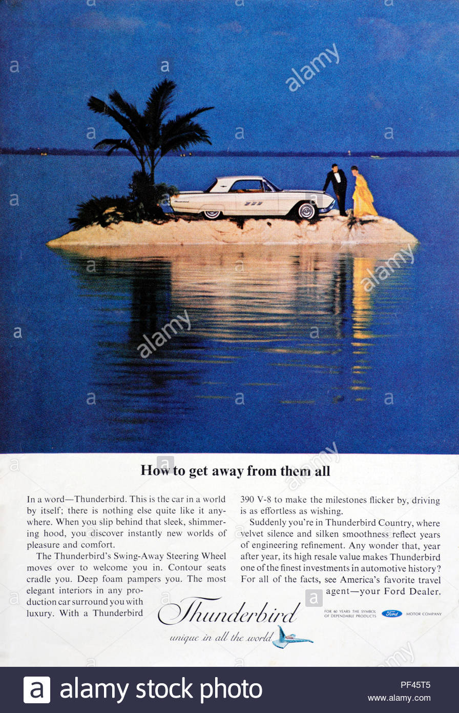 Vintage Advertising For The Ford Thunderbird Car 1963 Stock Photo