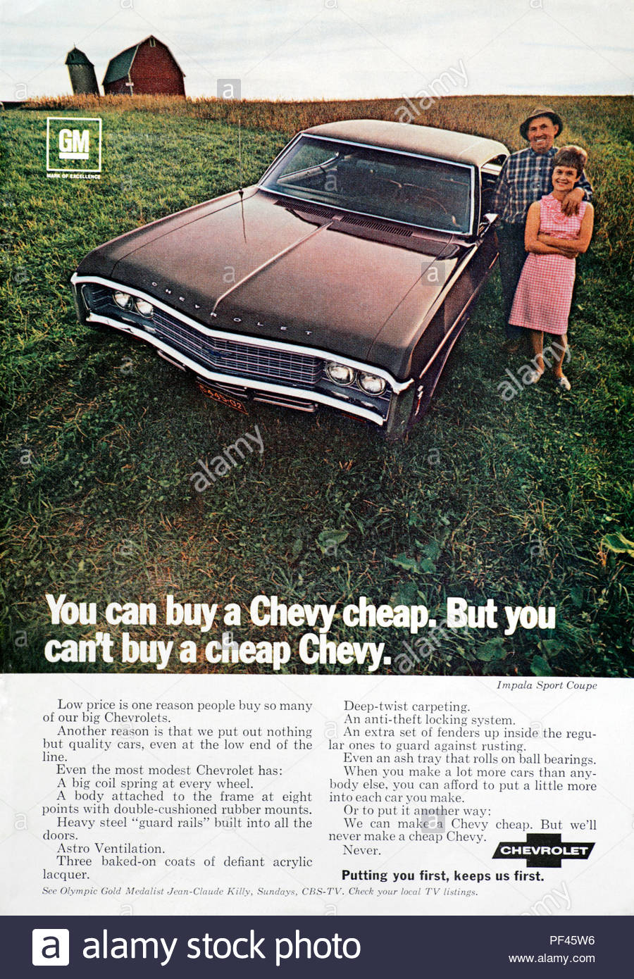 Vintage advertising for the Chevrolet Impala Sport Coupe 1969 - Stock Image