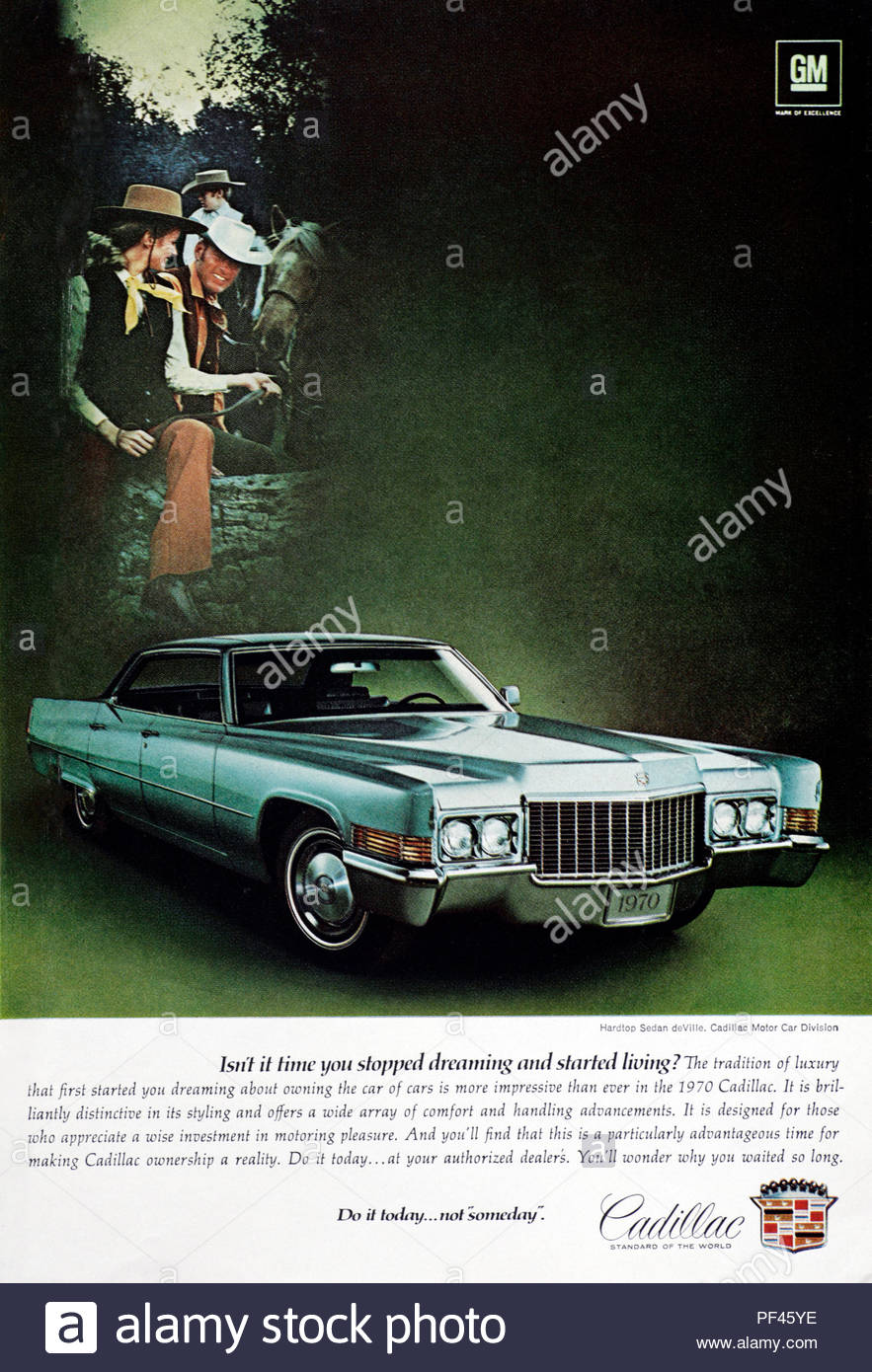 Vintage advertising for the Cadillac car 1970 - Stock Image