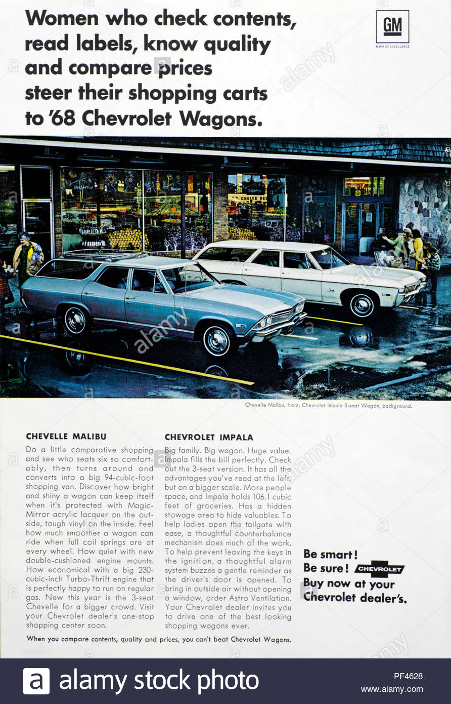 Vintage advertising for the Chevelle Malibu and Chevrolet Impala cars  1968 - Stock Image