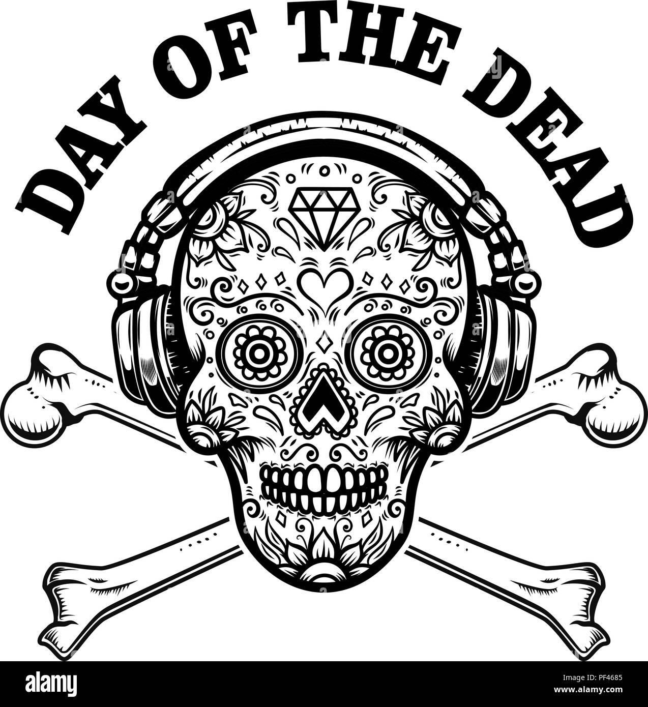 Mexican sugar skull with headphones and crossbones day of the dead mexican sugar skull with headphones and crossbones day of the dead design element for poster greeting card banner t shirt flyer emblem vector m4hsunfo