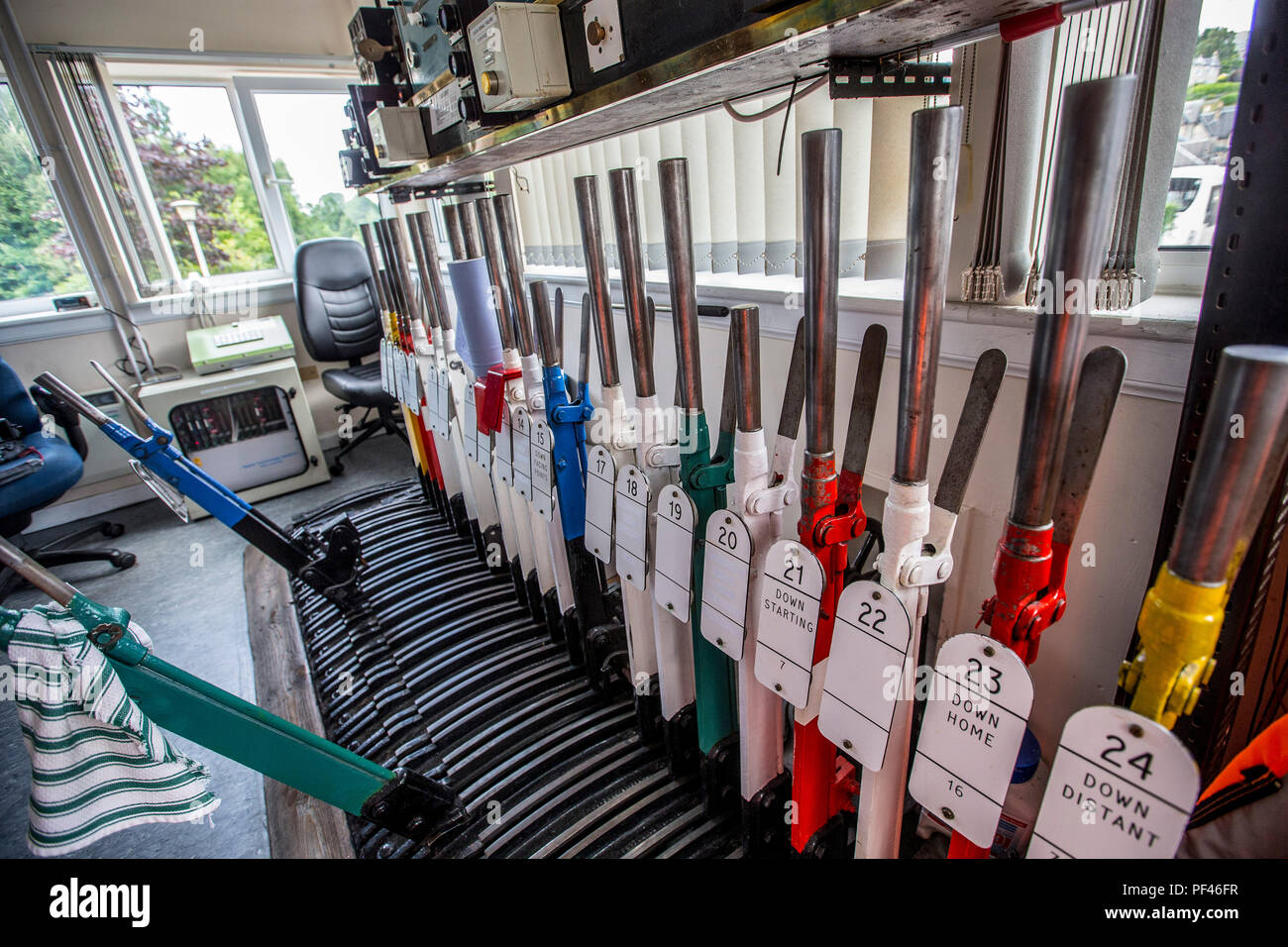 Old fashioned levers in signal box - Stock Image
