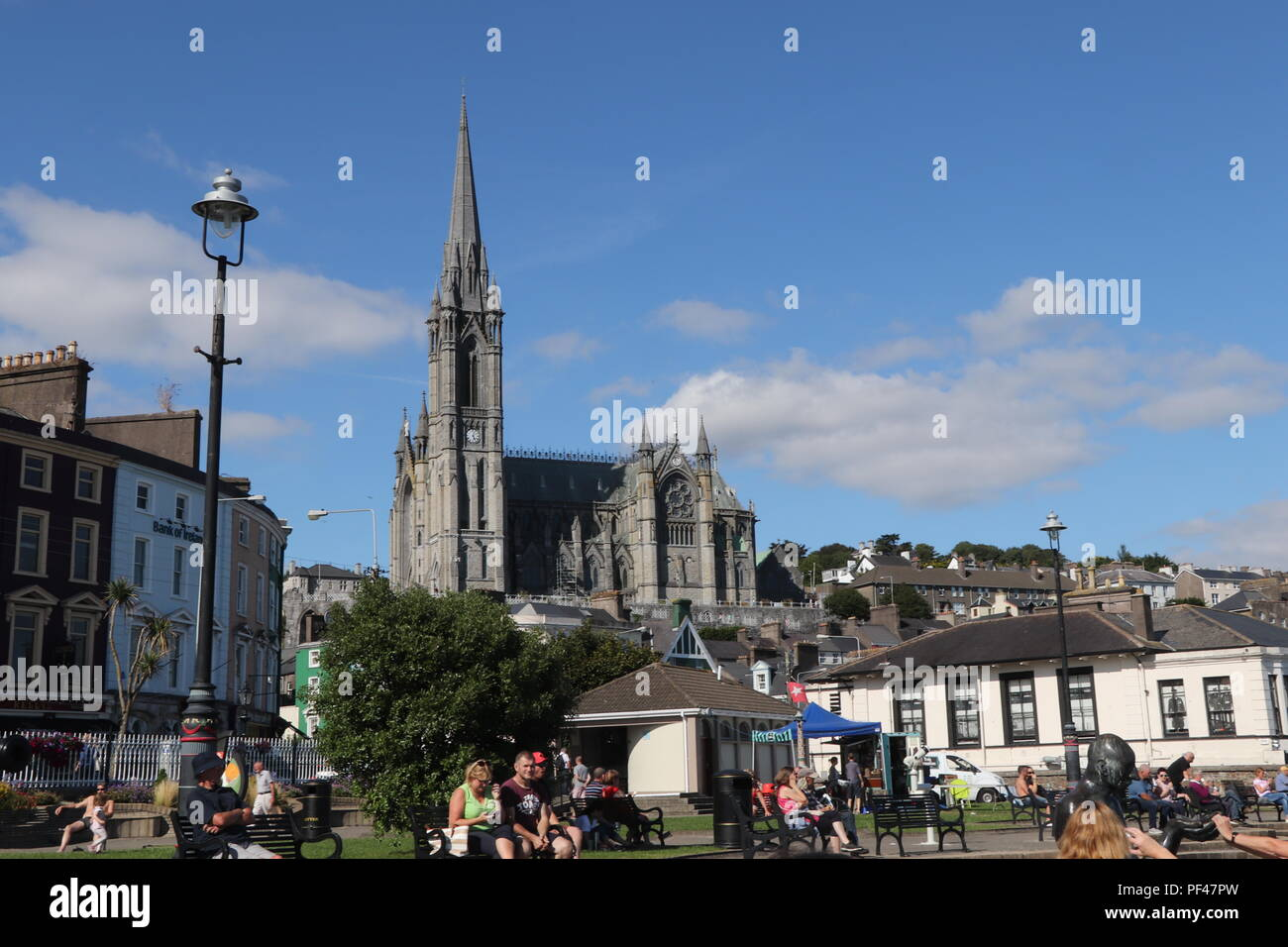 The lovely little town of Cobh, from the main square, with the magnificent centuries old Cathedral as a focal point. Stock Photo
