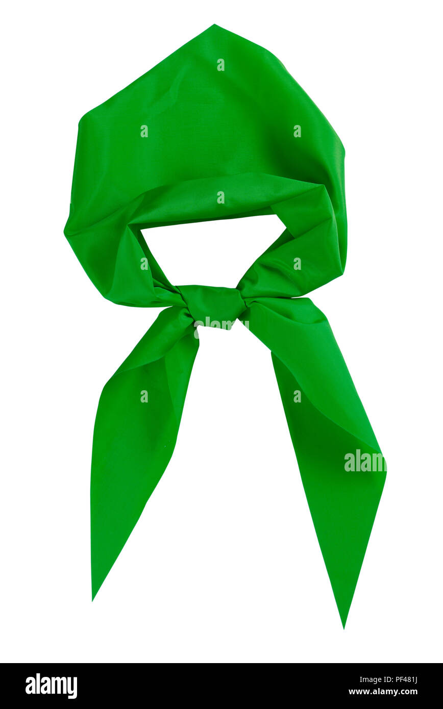 Scout tie isolated on white background. Green color. - Stock Image