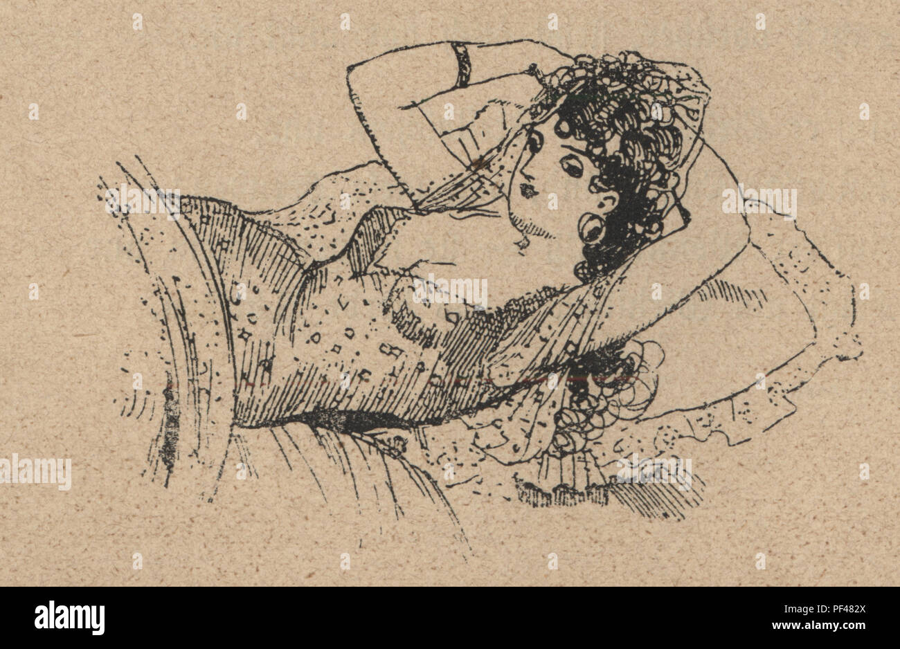 Vintage engraving of a young woman relaxing in bed, 1880s, German - Stock Image