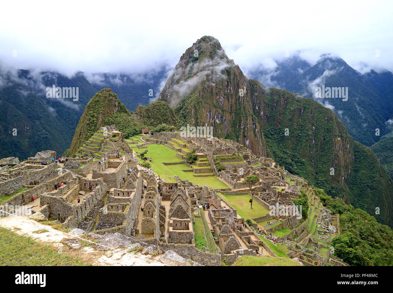 Machu Picchu on a Rainy Day, UNESCO World Heritage Site in Cusco Region, Urubamba Province, Peru, Archaeological site - Stock Image