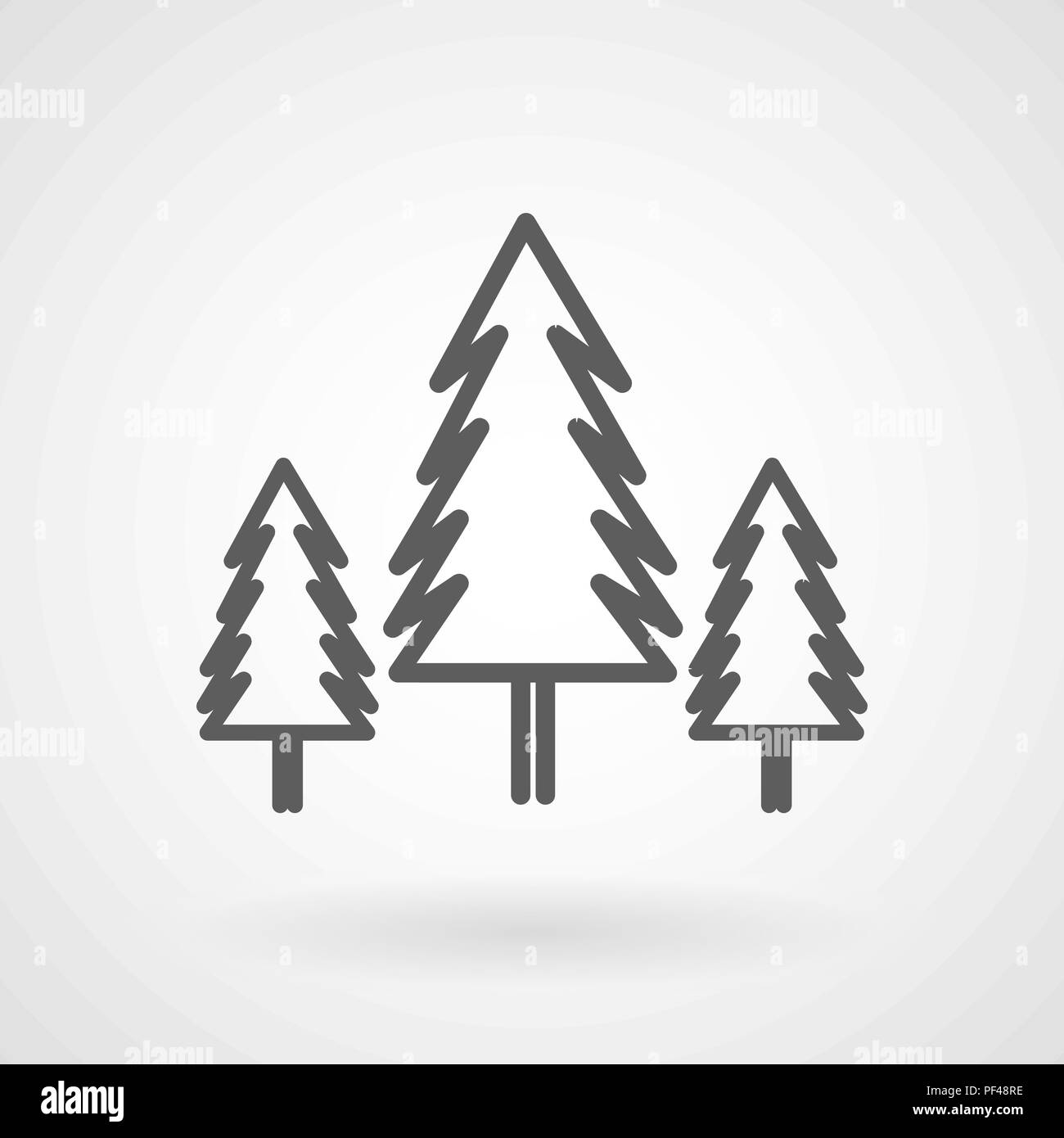 Three conifer pine trees in a forest line art icon, vector - Stock Image