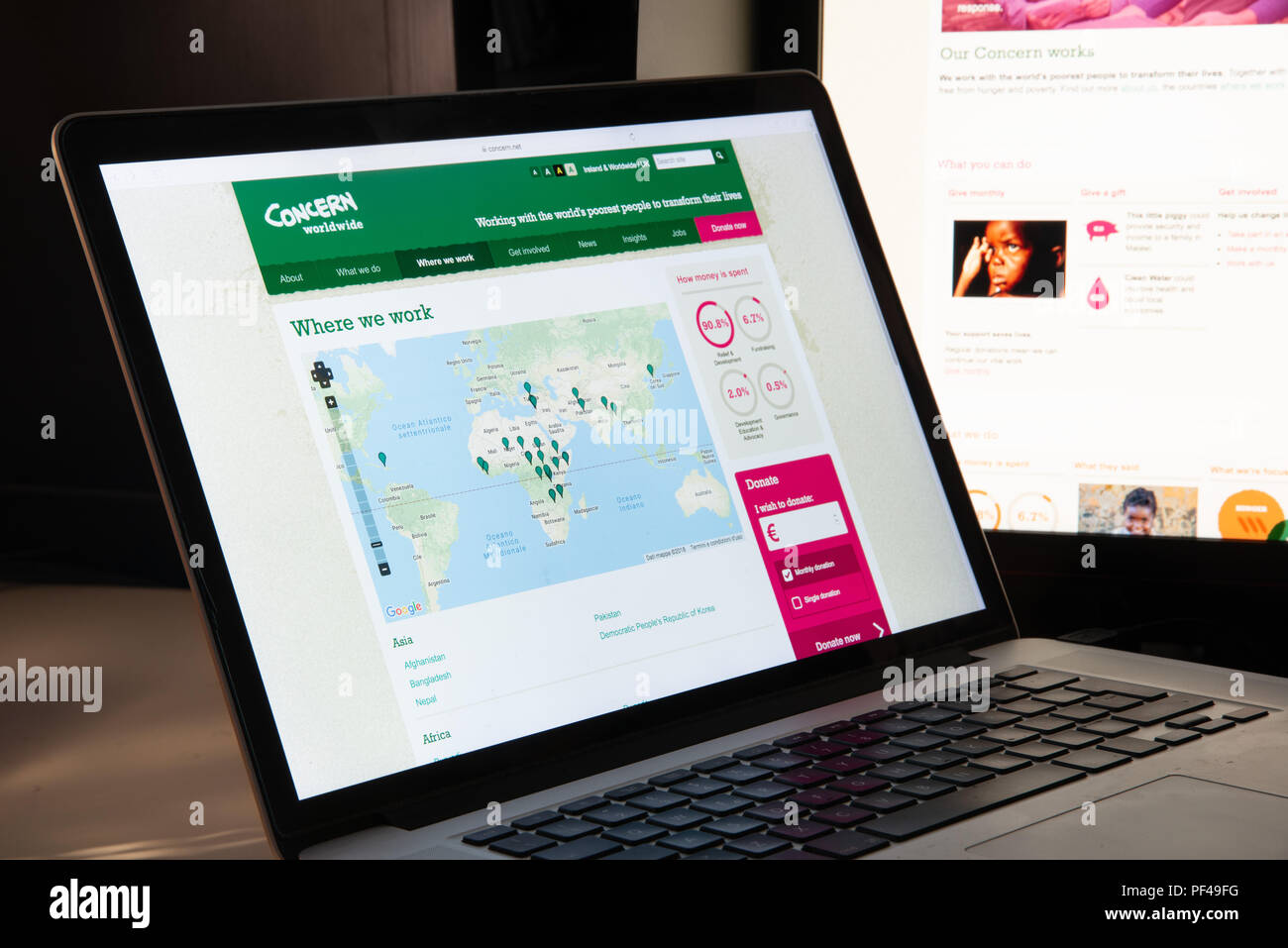 Milan, Italy - August 15, 2018: Concern NGO website homepage. Concern logo visible. - Stock Image