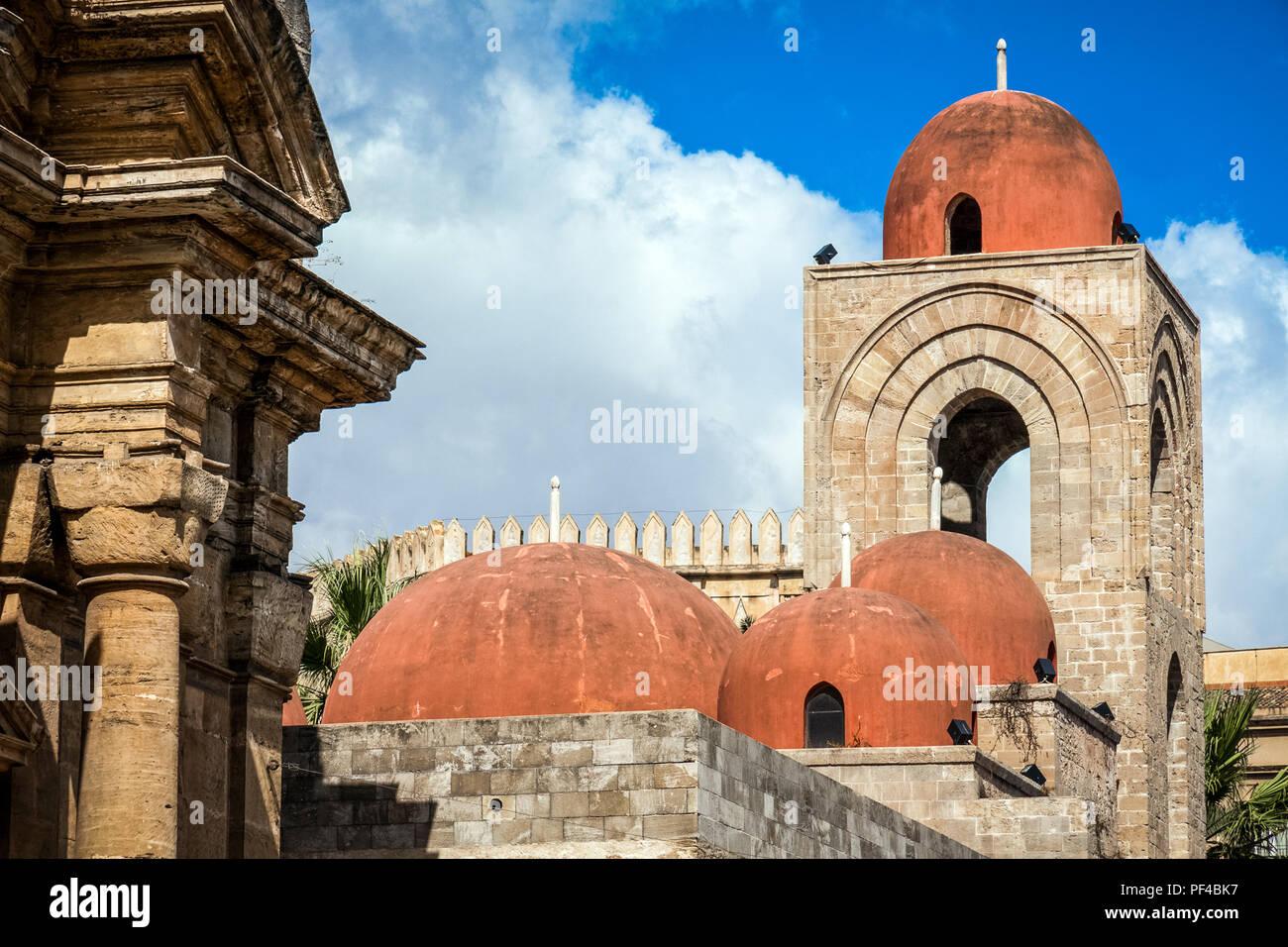 Italy, Sicily, Palermo, San Giovanni degli Eremiti exterior - Stock Image