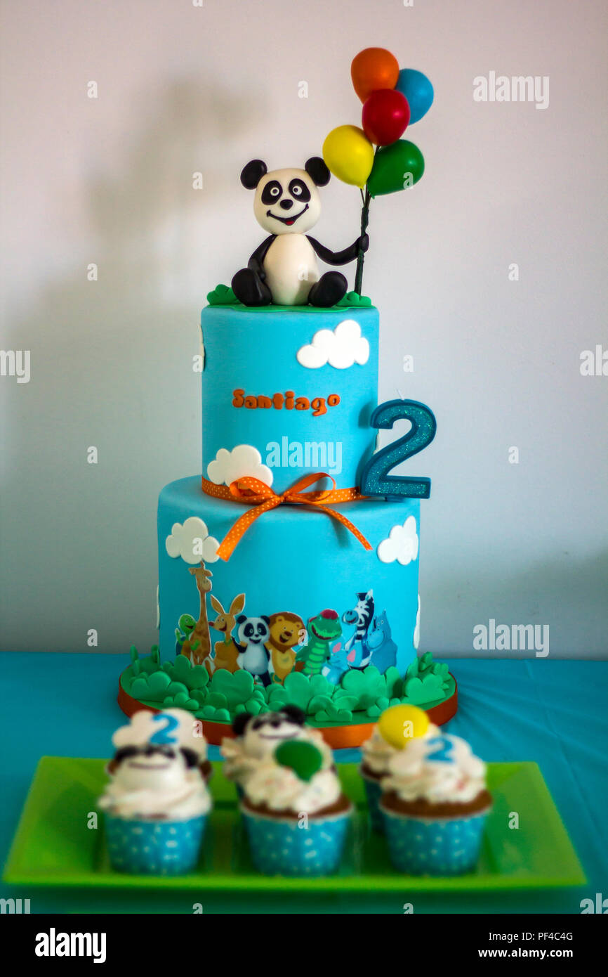 Awesome Two Years Old Birthday Decorated Cake Stock Photo 215841600 Alamy Funny Birthday Cards Online Hetedamsfinfo