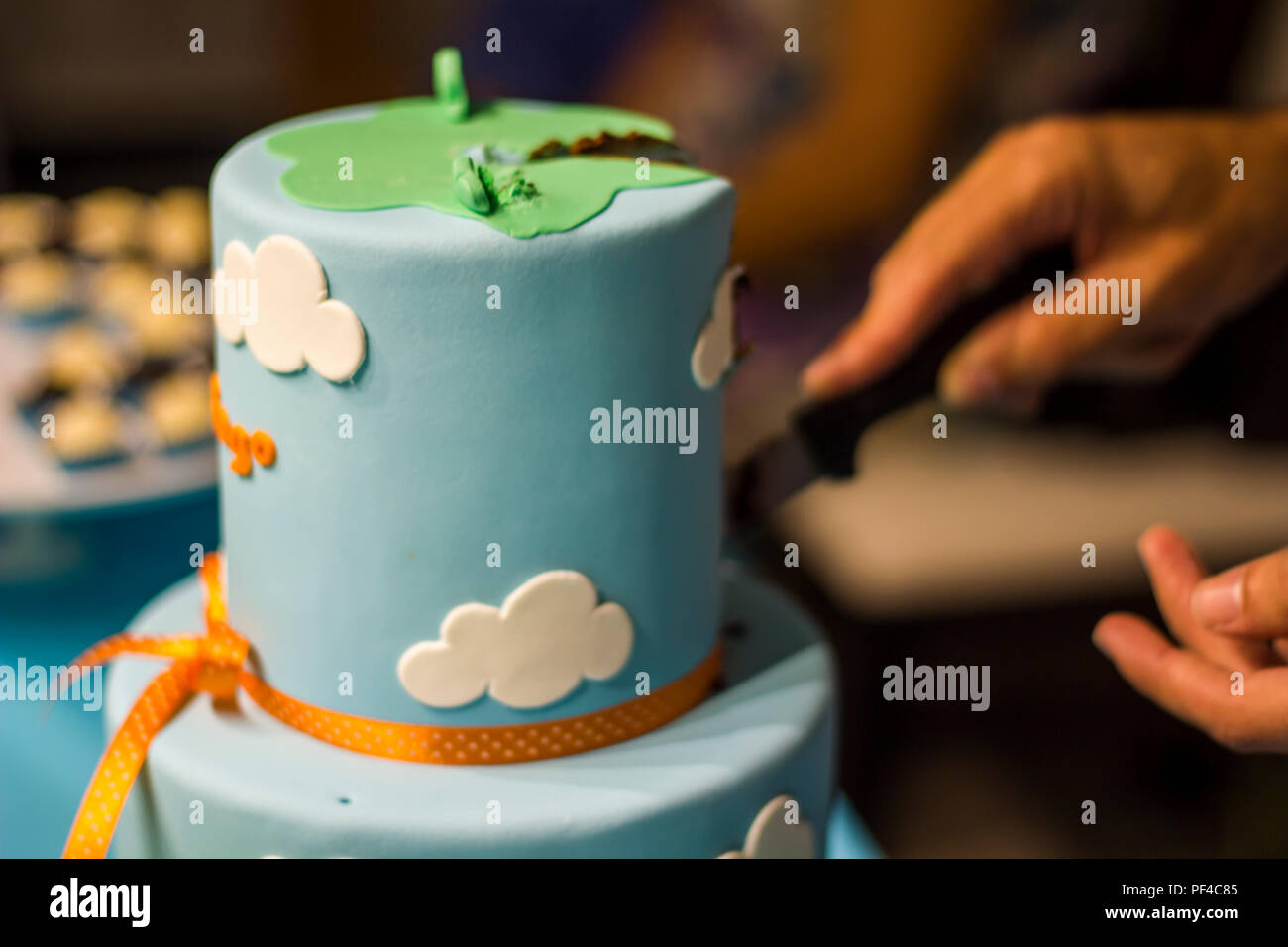 Fabulous Men Hands Cutting With Knife Peace Of Birthday Cake Stock Photo Personalised Birthday Cards Cominlily Jamesorg