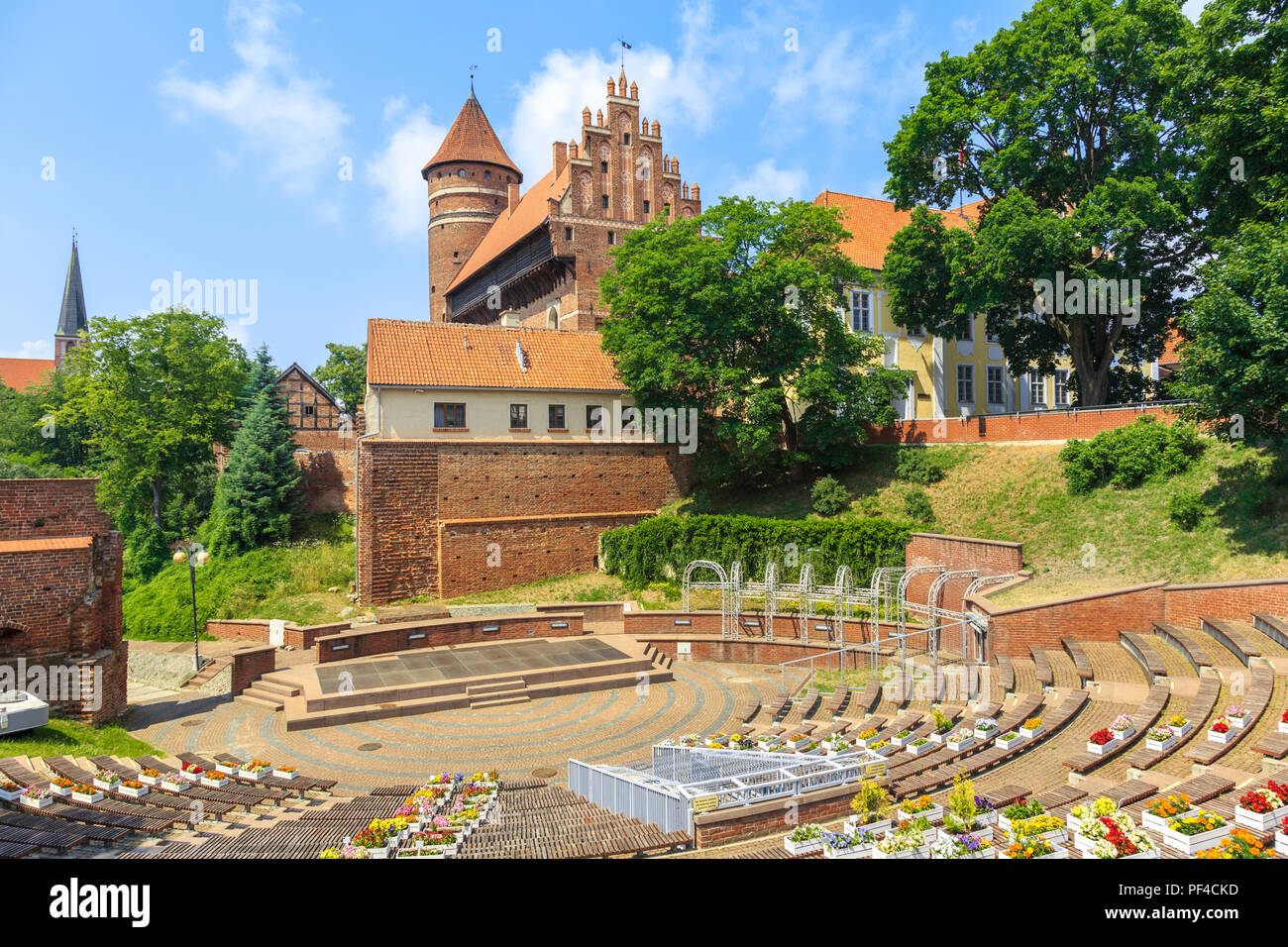 Amphitheater and Castle of Warmian Bishops in Olsztyn, northern Poland, built in the fourteenth-century in Gothic architectural style - Stock Image