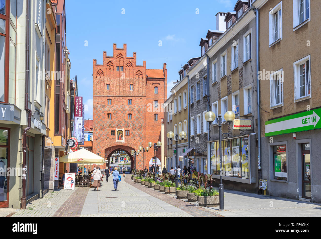 OLSZTYN, POLAND: Upper Gate in old town, called High Gate (polish: Brama Wysoka) - city gate existing since the 14th century Stock Photo