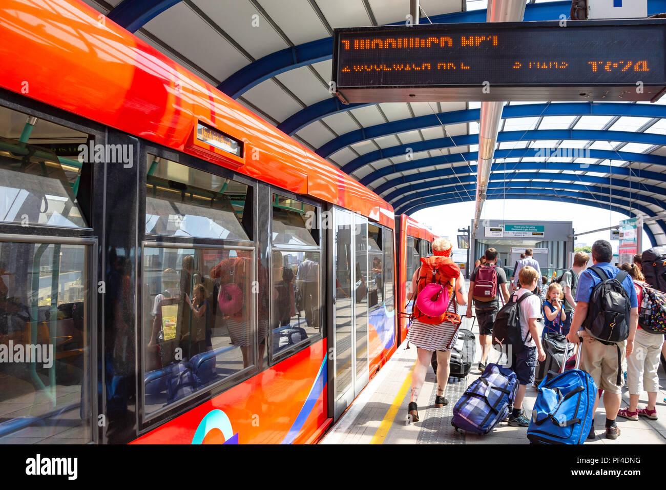 London City Airport DLR station, Silvertown, London Borough of Newham, Greater London, England, United Kingdom - Stock Image