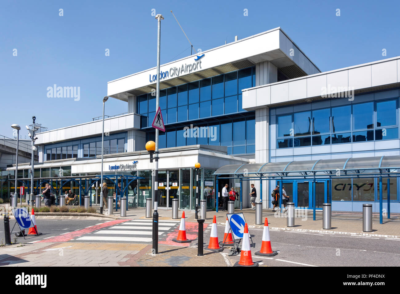Main entrance, London City Airport, Silvertown, London Borough of Newham, Greater London, England, United Kingdom - Stock Image