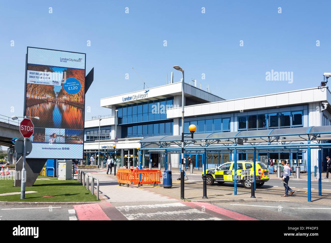 Main entrance, London City Airport, Silvertown, London Borough of Newham, Greater London, England, United Kingdom - Stock Image